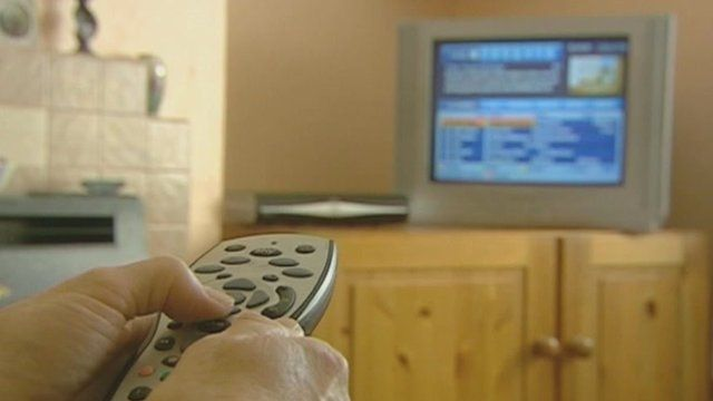 Sky TV remote pointed at TV