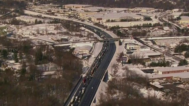 Hundreds of cars stuck at a standstill on the Pennsylvania Turnpike Highway