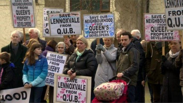 Residents protest against plans by Queen's University in Belfast to build new student accommodation