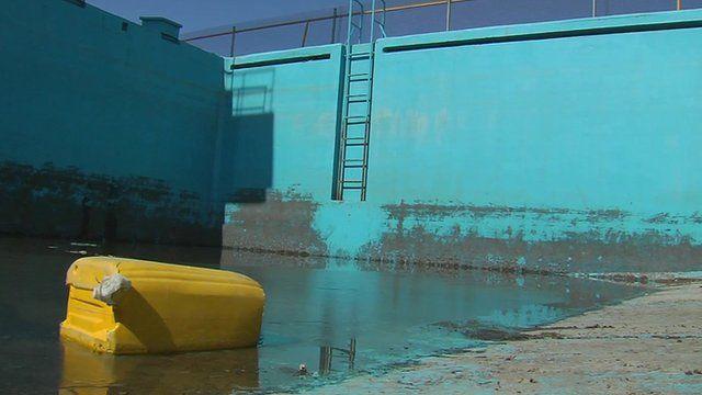 Disused Olympic pool in Afghanistan