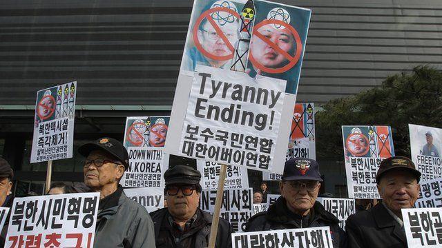 South Korean Conservative protestors hold anti-North Korea rally in Seoul