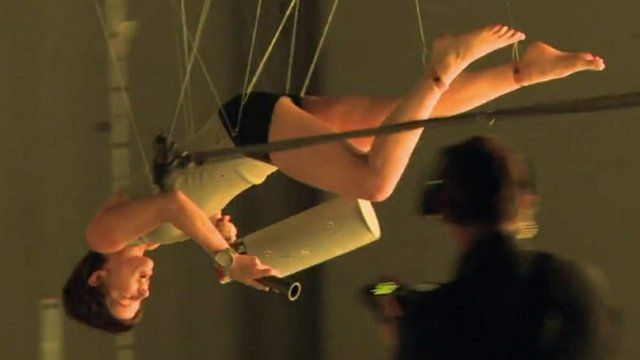 Sandra Bullock on set of film Gravity