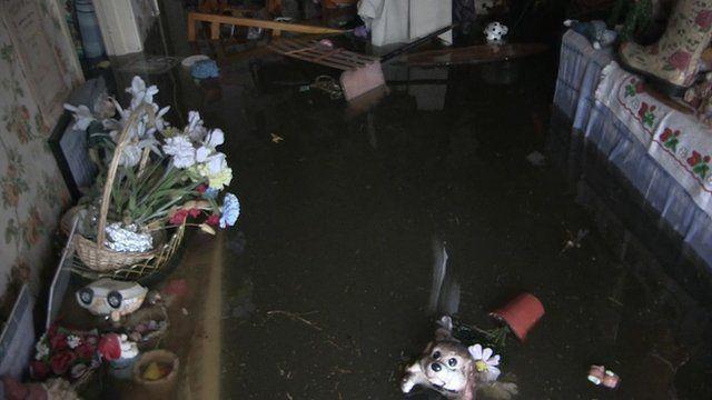 Inside a flooded house