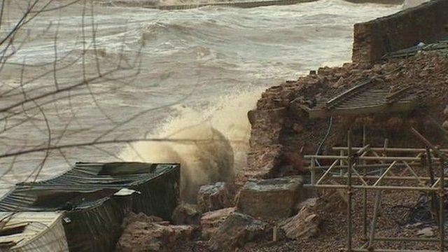 Damage to the sea wall at Dawlish