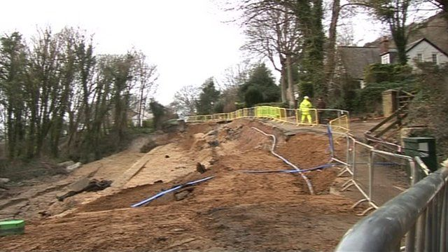 Part of the road along Undercliff Drive near Ventnor which has fallen away