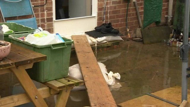 Sewage in garden in