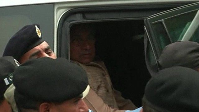 Pervez Musharraf inside car on arrival at court