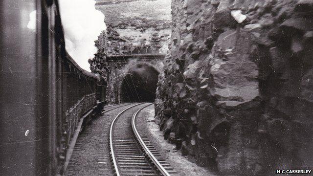 Steam train enters Queensbury Tunnel