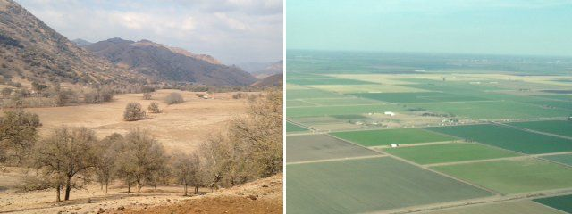 Landscapes of dry Tulare County in Central California (left) and lush Imperial Valley in Southern California (right)