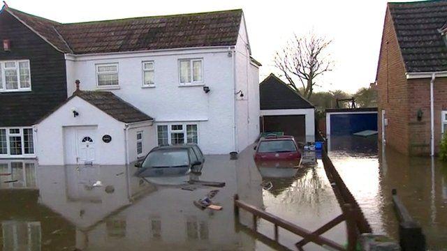 Flooded street in Somerset
