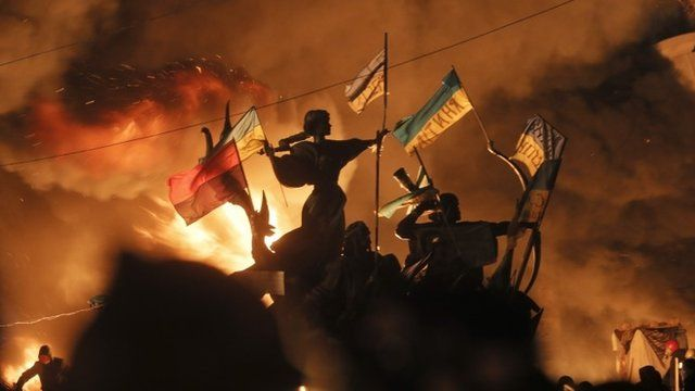 Statues ablaze in Independence Square