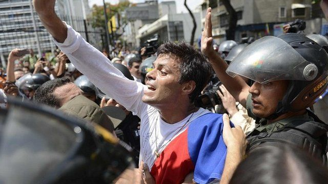 Leopoldo Lopez is escorted by the National Guard after he turned himself in
