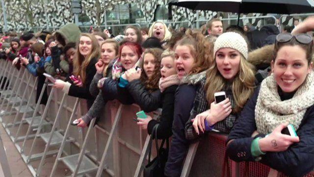 Fans waiting at the Brit Awards