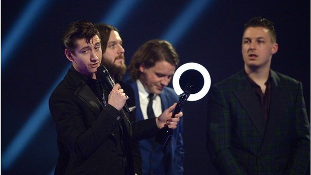 The Arctic Monkeys collecting their award for Album of the year