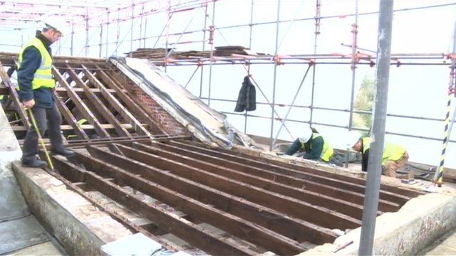 Work is carried out on the roof of the 250-year-old pantheon at Stourhead in Wiltshire