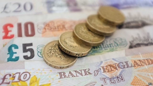 Pound coins and cash