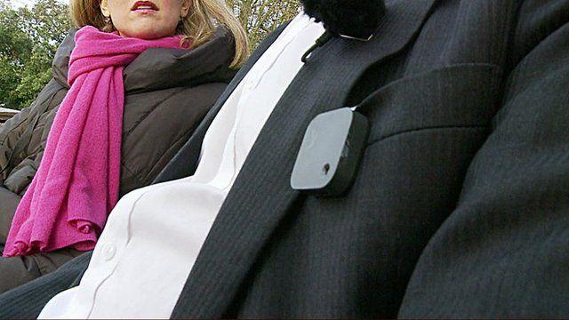 Man wearing small camera