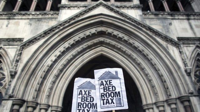 Campaigners demonstrate outside the Royal Courts of Justice against the Government's reform to limit housing benefit