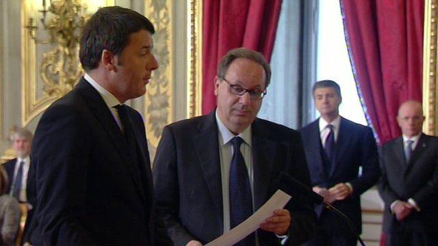 Matteo Renzi during his swearing-in