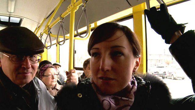 Interior of bus in Kiev, Ukraine