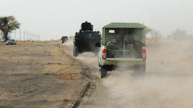 Nigerian soldiers on patrol