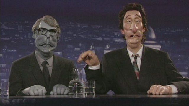 Spitting Image puppets of John Major and Jeremy Paxman