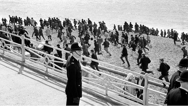 Mods on Brighton beach 1964