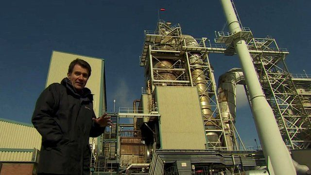 The BBC's David Shukman at the waste handling site in Ellesmere Port