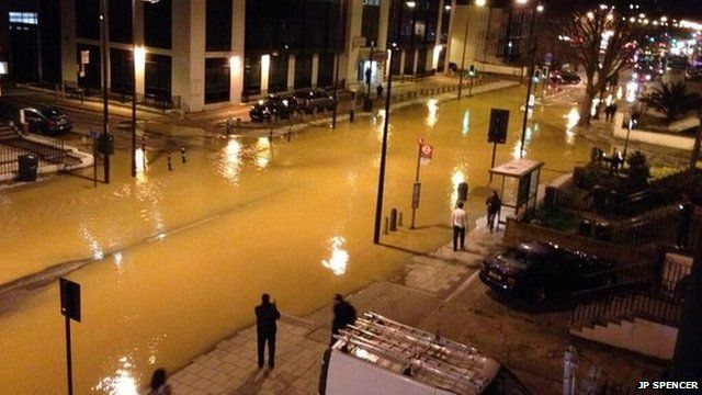 Flooded street in south London