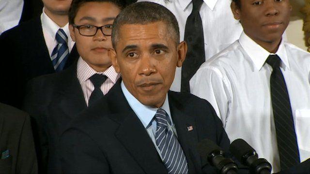 Barack Obama speaks at the White House 27 February 2014