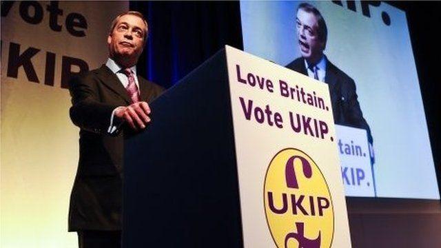 Nigel Farage addressing activists at UKIP's spring conference