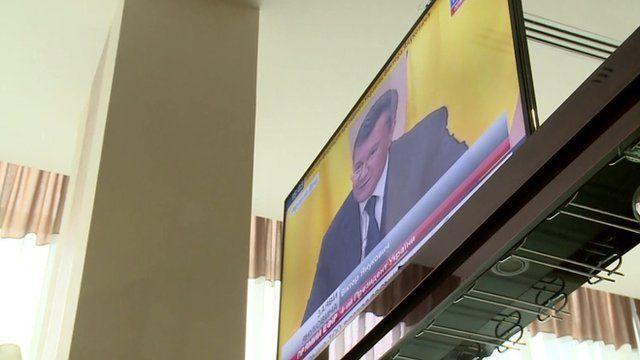 Ukraine's ex-President Viktor Yanukovych on television