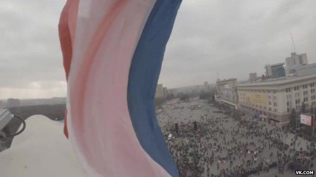 Russian flag flies above square in Kharkiv