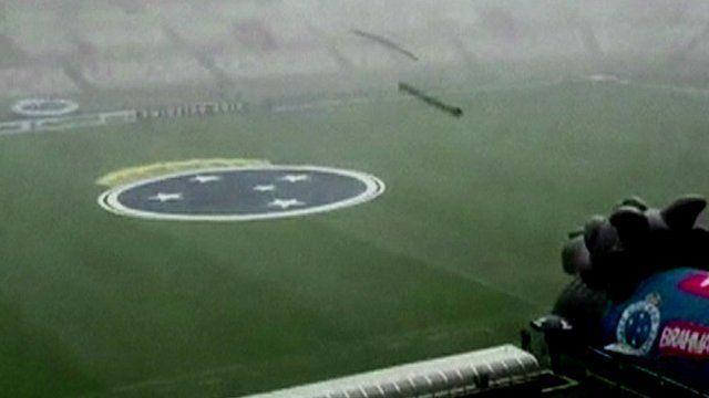 Gutters fall from Belo Horizonte stadium in Brazil
