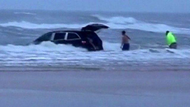 Vehicle stranded in sea