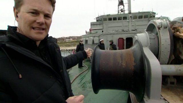 Christian Fraser on board Ukrainian warship