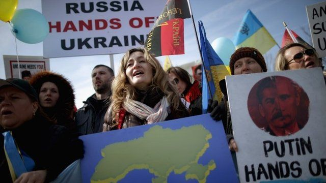 Demonstrators rally against Russias aggression in Ukraine outside the White House