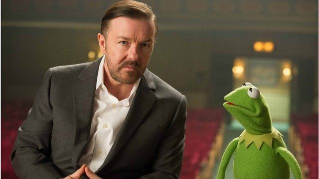Ricky Gervais and Kermit the Frog