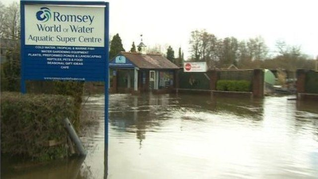 Romsey World of Water submerged in floodwaters