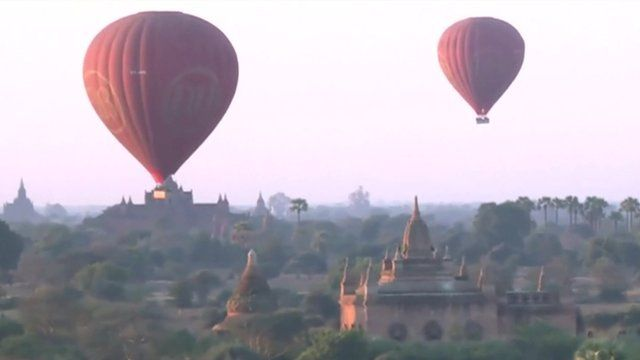 Hot air balloons over Myanmar's ancient temple city of Bagan