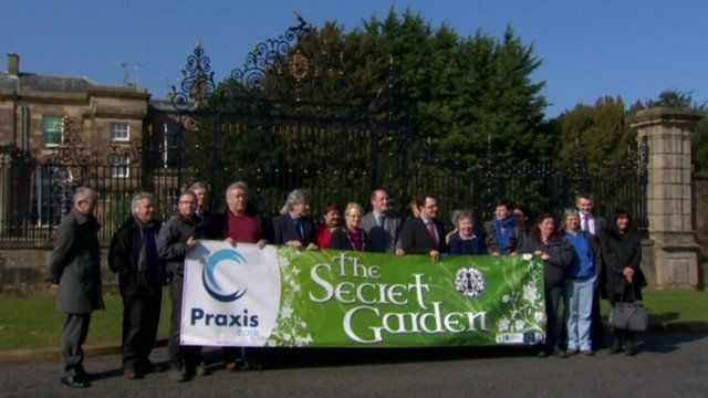 Supporters of Praxis held a protest outside Hillsborough Castle on Wednesday