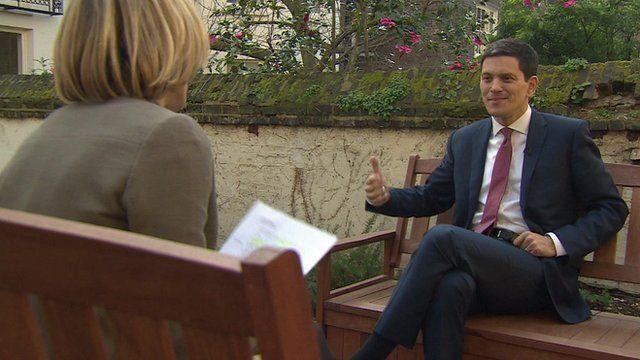 Newsnight's Emily Maitlis talking to David Miliband, IRC president