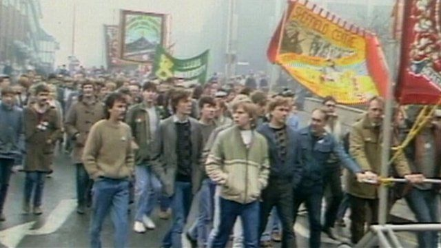 Miners on rally during the 1984 strike