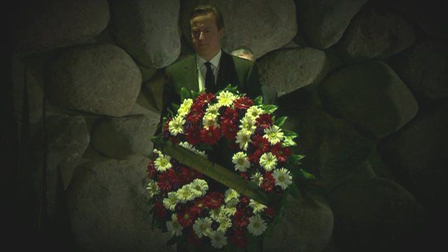 David Cameron prepares to lay a wreath at Yad Vashem holocaust memorial in Jerusalem