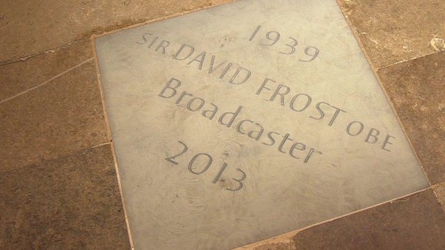 A memorial stone dedicated to Sir David Frost