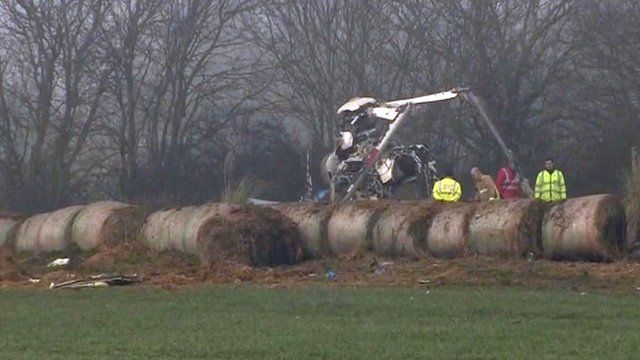 Site of helicopter crash near Beccles