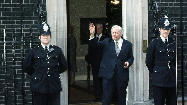 Harold Wilson outside Number 10 Downing Street after his resignation