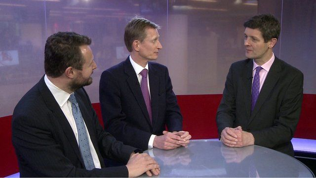 Hugh Pym (R) and guests