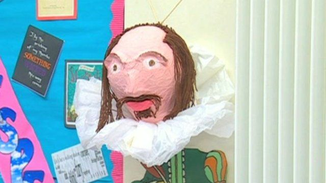 Shakespeare model on wall