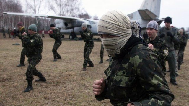 Ukrainian interim forces learn techniques of unarmed combat near Kiev